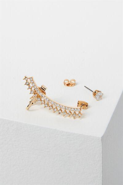 Steph Diamante Ear Climber, GOLD