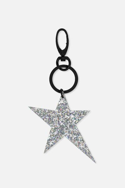 Geo Star Bag Charm, HOLOGRAPHIC GLITTER
