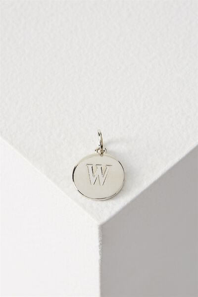 Letter Flat Pendant Charm, SILVER - W