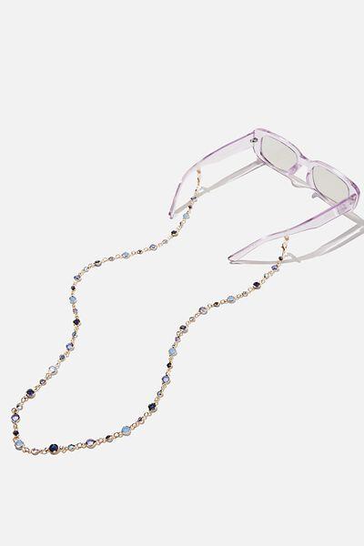 Ava Glasses Chain, BLUE GEMS