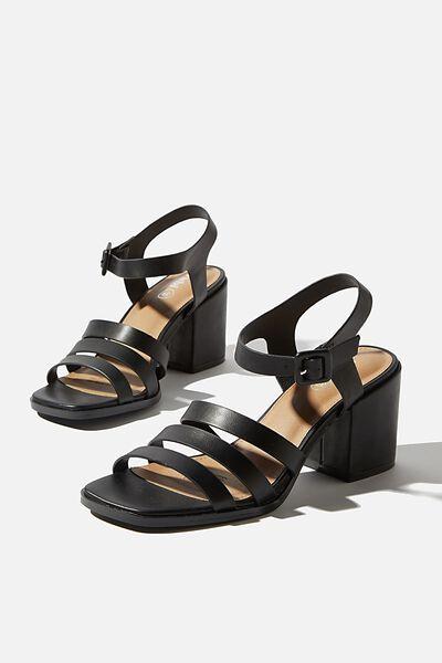 Poppy Triple Strap Block Heel, BLACK SMOOTH