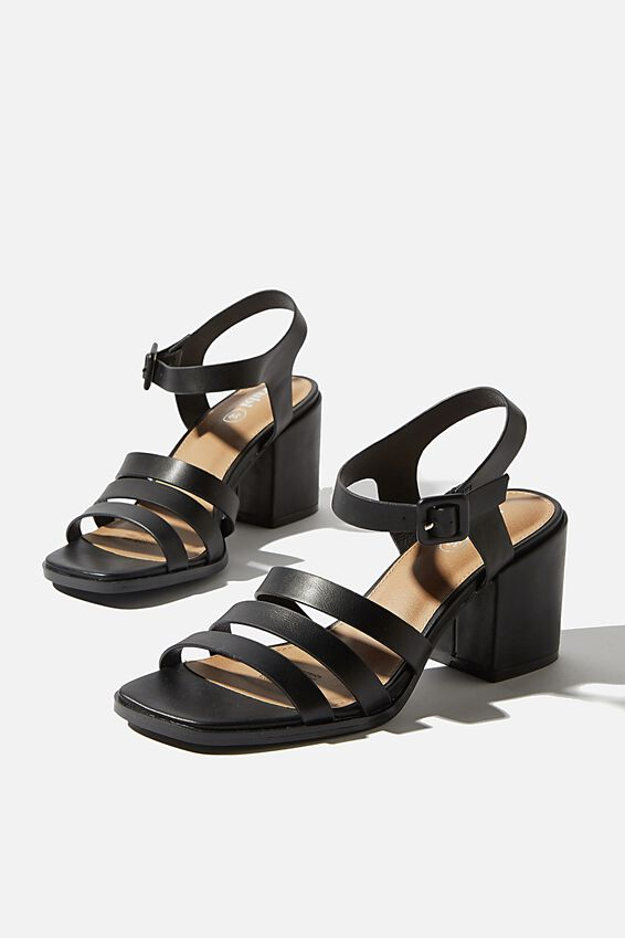 Poppy Triple Strap Block Heel, BLACK SMOOTH