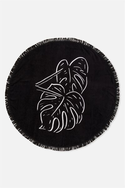 Lying Round Towel, BLACK/WHITE MONSTERA ART