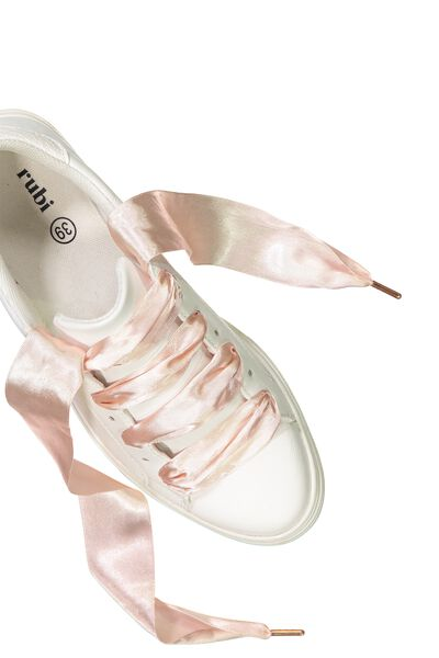 Laced Up Shoelaces, BLUSH WIDE SATIN