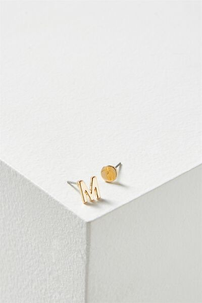 Alpha Stud Earring, GOLD - M