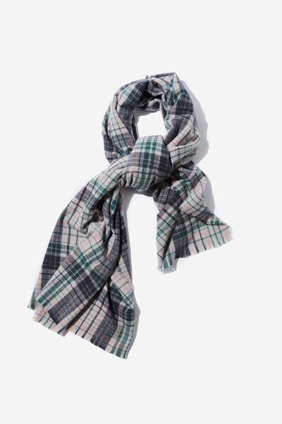 Lexi Mid Weight Check Scarf, GRAPHITE CHECK