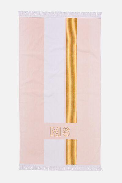 Personalised Bondi Rectangle Towel, CORAL STRIPE