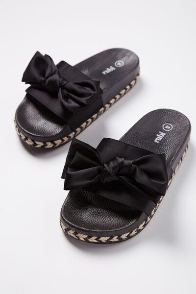 Lana Bow Flatform Slide, BLACK