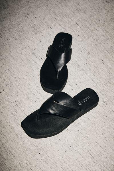 Livie Flatform Thong, BLACK SMOOTH PU