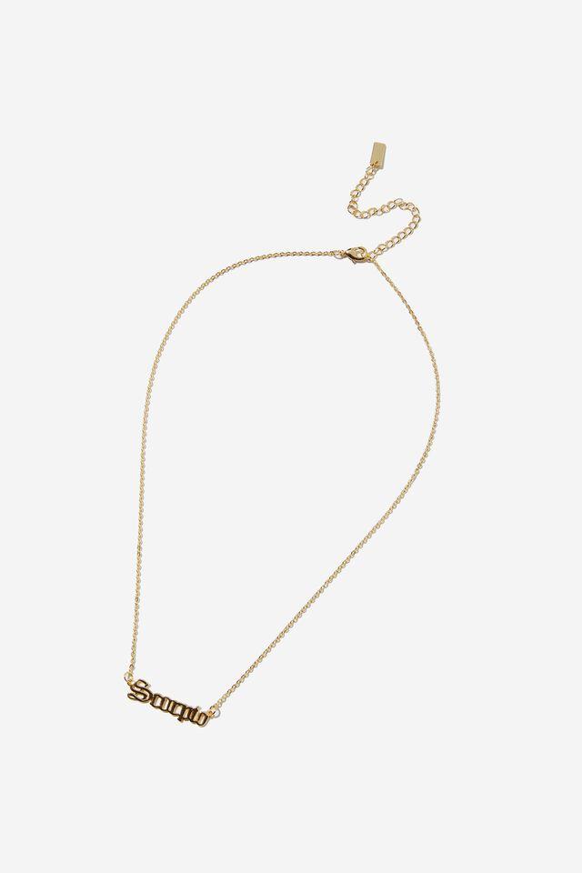 Premium Pendant Necklace, GOLD PLATED SCORPIO