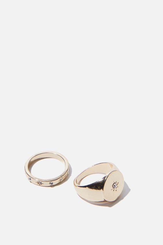 Luxe Layers Signet Ring Set, GOLD