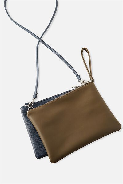 Dakota Double Pouch Cross Bag, NAVY/KHAKI