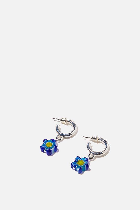 Noughties Hinge Hoop, FLOWER BEAD BLUE