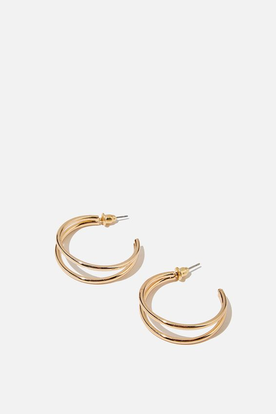 Luxe Layers Hoop, DOUBLE GOLD