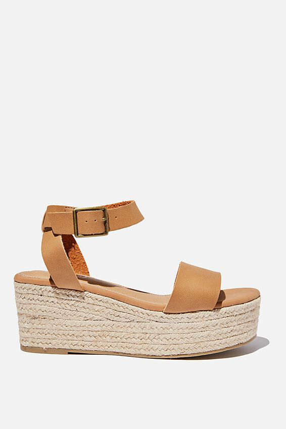 Crystal Espadrille Wedge, TAN