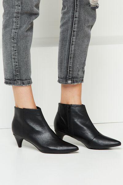 Fraser Kitten Heel Boot, BLACK