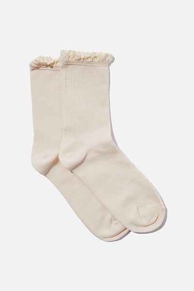 Lace Frill Crew Sock, ECRU
