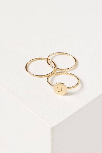 Letter Pendant Ring, GOLD - U
