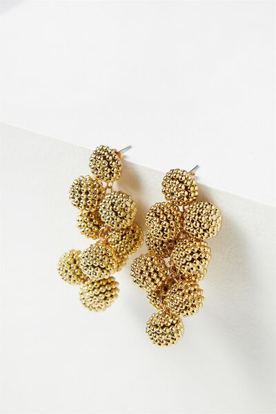 Textured Bauble Statement Earring, GOLD