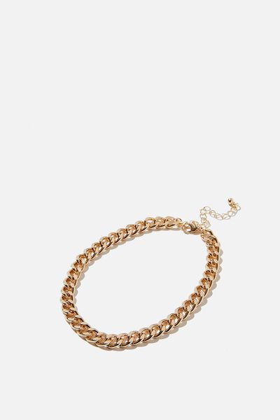 Carrie Chain Anklet, GOLD CURB