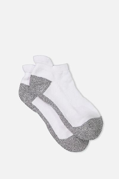 High Impact Ankle Sock, WHITE/GREY