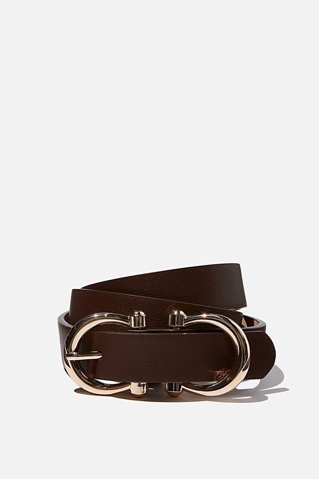 Buckle Up Belt, BROWN/GOLD