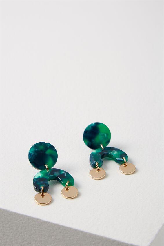 Montana Earring, EMERALD GREEN/GOLD