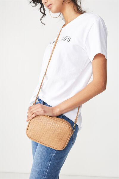 Cameron Cross Body Bag, TAN WOVEN