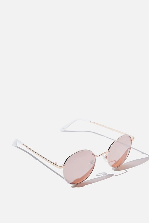 Emmi Metal Frame Sunglasses, ROSE GOLD WHITE