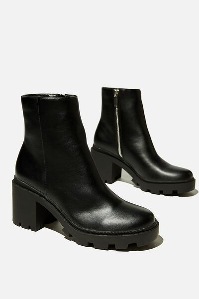 Pia Combat Lug Sole Heel Boot, BLACK SMOOTH