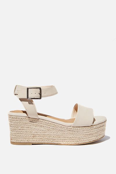 Crystal Espadrille Wedge, STONE