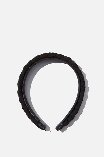 Maddi Plait Headband, BLACK