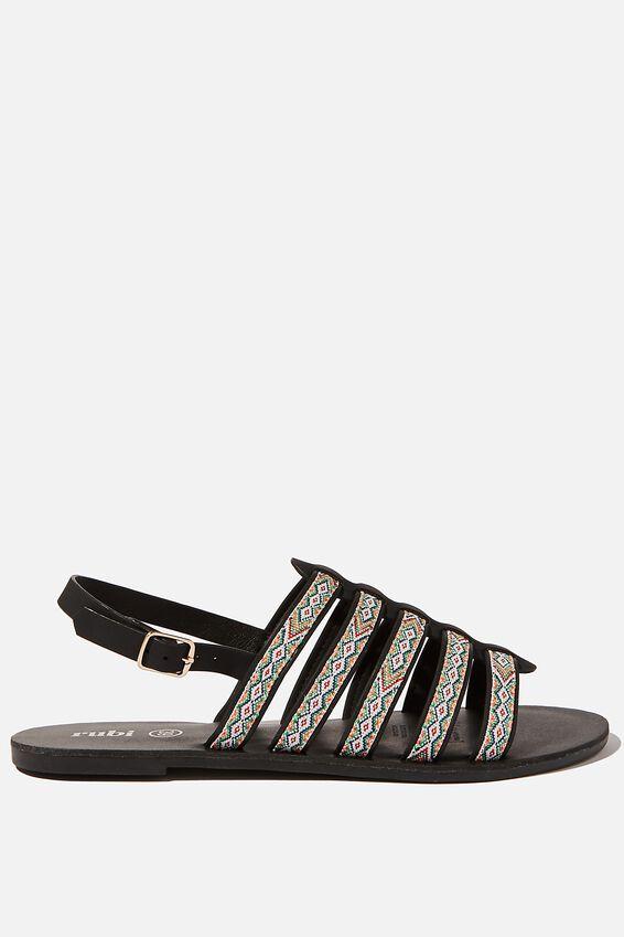 Miller Gladiator Sandal, BLACK NUBUCK/ MULTI