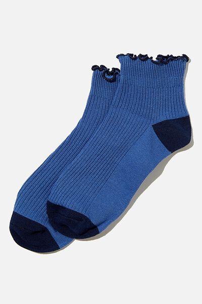 Frill Ribbed Ankle Sock, COASTAL BLUE
