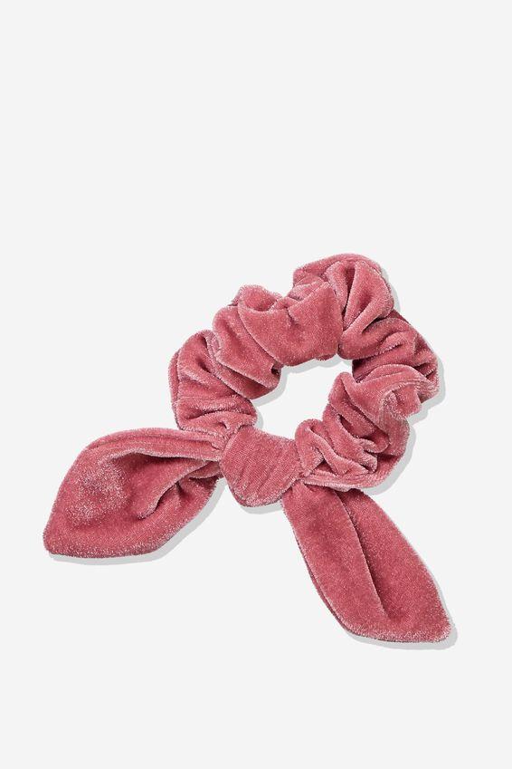 Tribecca Tie Scrunchie, BLUSH VELVET