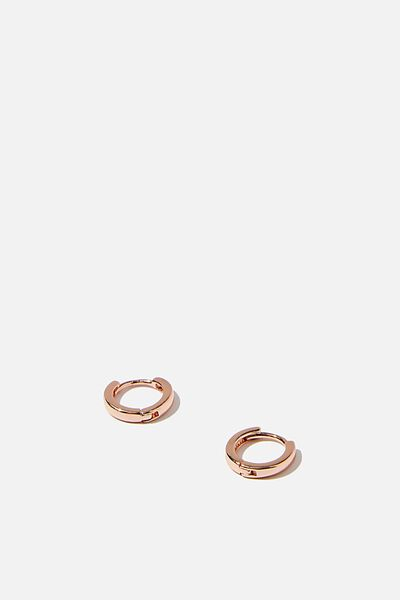 Ear Party Plain Huggie Hoops, ROSE GOLD