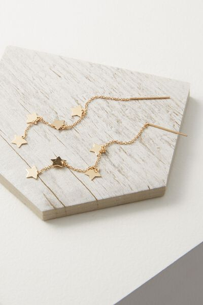Adara Star Chain Earring, GOLD