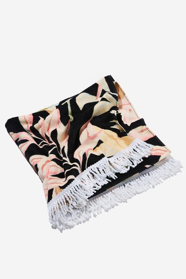 Bondi Rectangle Towel, BLACK TROPICAL