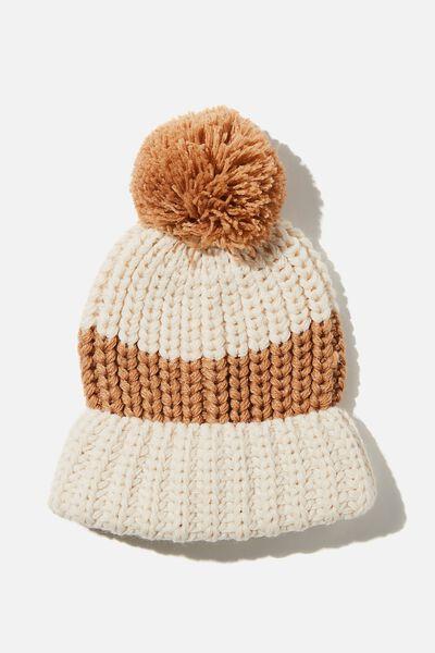 Chunky Knit Pom Pom Beanie, SOFT CAMEL/SANDSTONE STRIPE