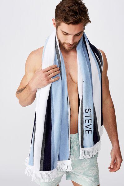 Personalised Rectangle Towel, BLUE VERTICAL STRIPE