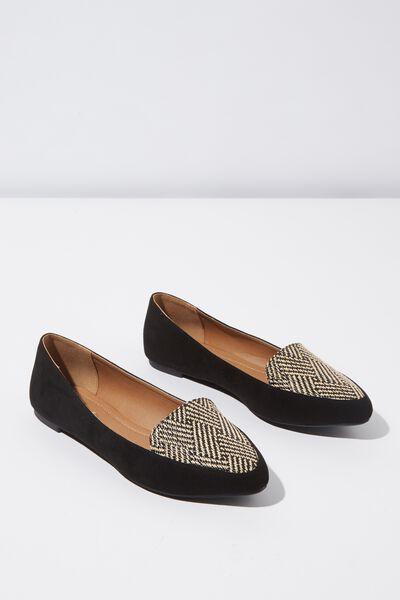 Peta Point Loafer, BLACK/BLACK RAFFIA