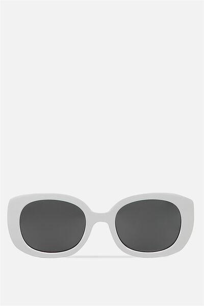 Savannah Oval Square Sunglasses, WHITE