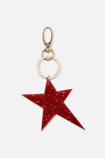 Geo Star Bag Charm, RED GLITTER