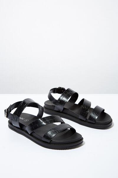 Carter Chunky Sandal, BLACK CROC EMBOSSED