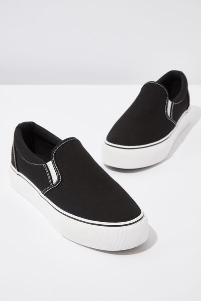 Jessie Platform Slip On, BLACK CANVAS