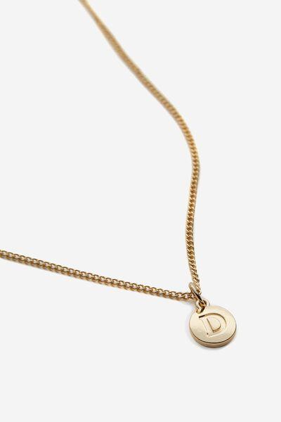 Letter Charm Necklace, GOLD D