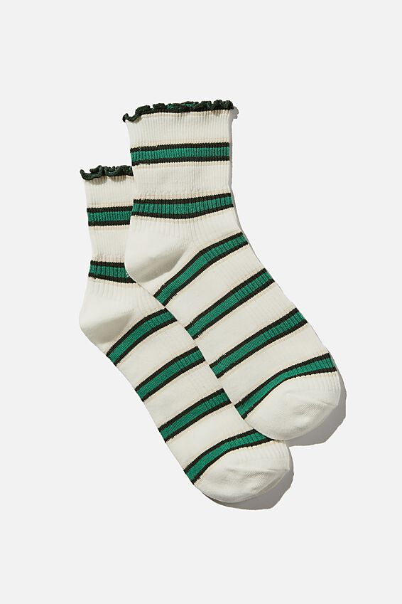 Frill Ribbed Quarter Crew Sock, GREEN RETRO STRIPE