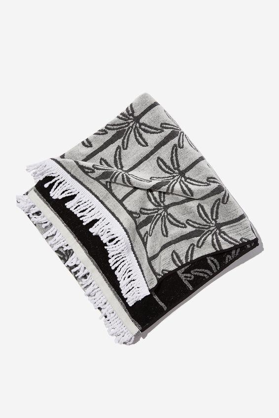 Bondi Rectangle Towel, BLACK PALM TREE