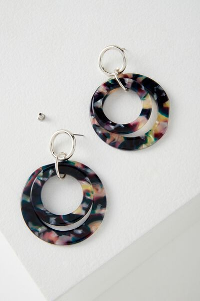 Newport Earring, MIDNIGHT/SILVER