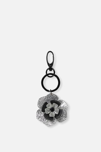 Flower Bag Charm, SILVER